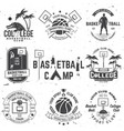set of basketball college club badge vector image vector image