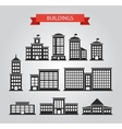 Set of flat design buildings pictograms vector image vector image