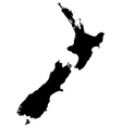 Silhouette map of New Zealand vector image vector image
