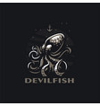stylized octopus with tentacles in sea vector image
