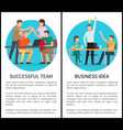 successful team and business idea promo posters vector image vector image