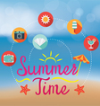 Summer Flat Icons and Heading on Blur Background vector image