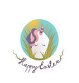 sweet easter egg unicorn in the grass and oval sky vector image vector image
