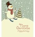 The snowman on skis cozy retro Christmas card vector image vector image
