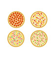 top view set italian pizza on white vector image