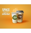 two cups hot coffee and tea on a yellow vector image vector image