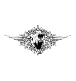 vintage emblem with animal skull vector image vector image