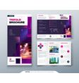 violet tri fold brochure design with square shapes vector image