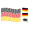 waving germany flag pattern of graduation cap vector image