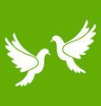 wedding doves icon green vector image vector image