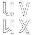 wireframe font alphabet letters U V W X vector image