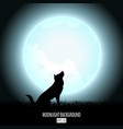 wolf howls to midnight fool moon abstract vector image