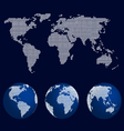 Set of world globes in dot pattern and world map vector image