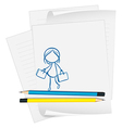 A paper with a drawing of a girl holding two bags vector image vector image