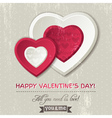 background with two valentine hearts vector image