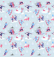 beautiful seamless pattern with ski vector image vector image