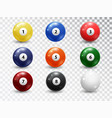 billiard balls pool accessory set realistic vector image vector image