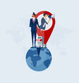 business team with map pointer to share location vector image vector image