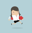 businesswoman running and hold red arrow vector image vector image