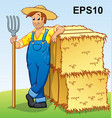 cartoon farmer with pitchfork and hay bales eps10 vector image