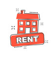 Cartoon rent house icon in comic style rent sign