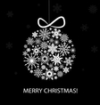Christmas greeting card with white balls vector image vector image