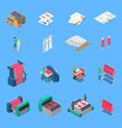 clothes factory isometric icons set vector image vector image