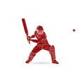 cricket batsman sport player action cartoon vector image