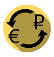 currency exchange sign euro and russia rouble vector image vector image