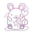 degraded outline cute mouse and kawaii cat ice vector image vector image
