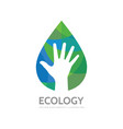 ecology human hand concept business logo design vector image