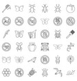 etching icons set outline style vector image vector image