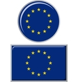 european union round and square icon flag vector image