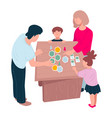 family playing board games on weekends or vector image
