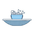 fishing bucket with boat vector image vector image