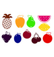 flat design fruits and berries icon set vector image vector image