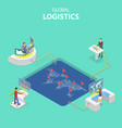 flat isometric concept global logistics vector image vector image