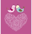 Flowers in the form of a heart and birds vector image