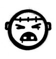 graffiti angry monster icon black over white vector image vector image