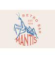 insect logo vintage bug beetle mantis label vector image vector image