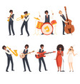 jazz band group musicians singing and playing vector image