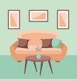 living room interior a sofa pillows table flower vector image