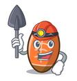 miner rugby ball mascot cartoon vector image vector image
