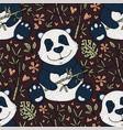 panda bear with bamboo hand vector image vector image