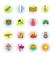 Russia set icons comics style vector image