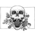 screaming skull with roses vector image vector image