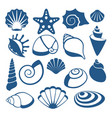 sea shell silhouette icons vector image vector image