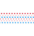 seamless border with hearts and flowers hand vector image