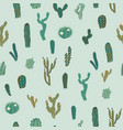 seamless pattern with cactus repeated vector image