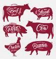 set of butchery logos labels emblems posters vector image vector image